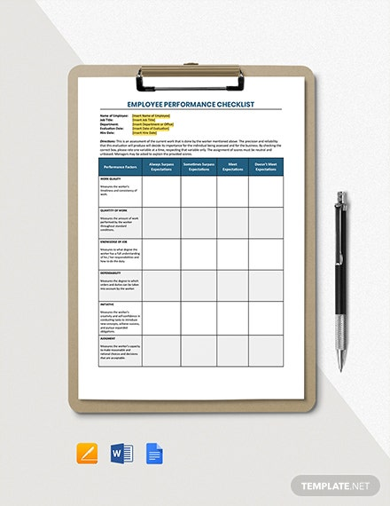 Employee Performance Checklist Template