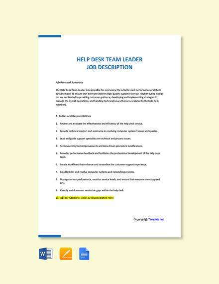 Free Help Desk Team Leader Job Ad/Description Template