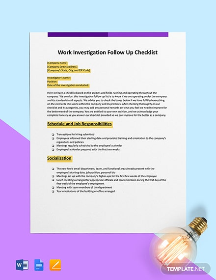 Workplace Investigation Follow-Up Checklist Template