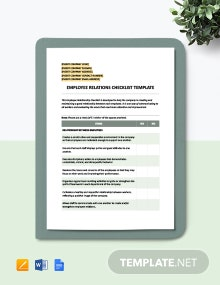 Employee Relations Checklist Template