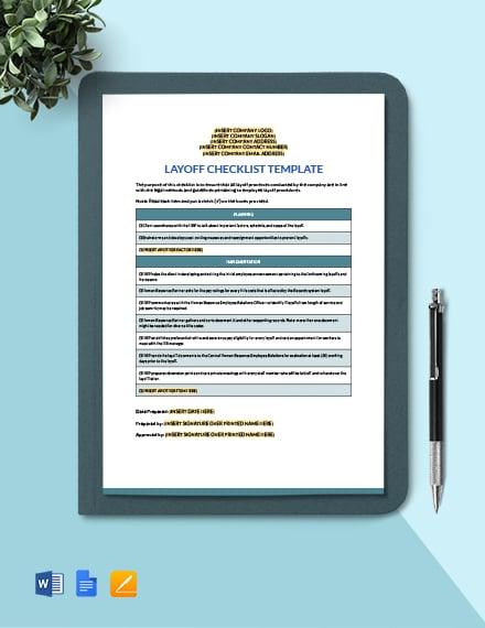 Layoff Checklist Template