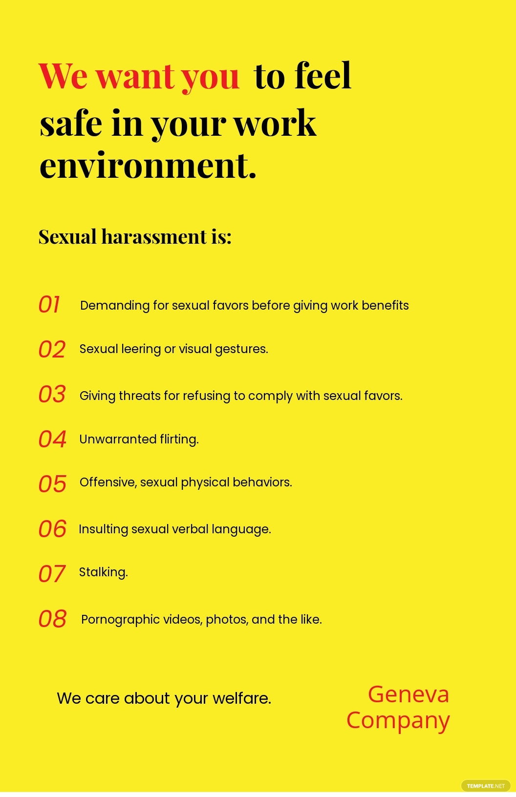 POSH (prevention of sexual harassment) Poster Template