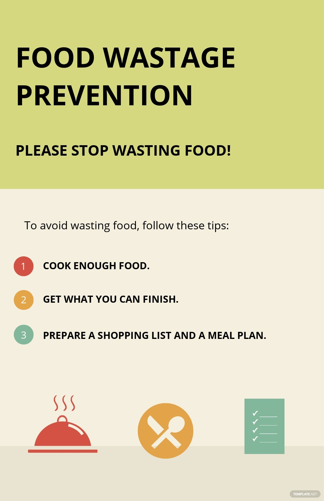 Prevention of Food Wastage Poster Template