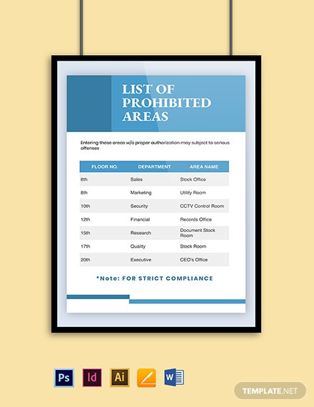 Prohibited Area Poster Template