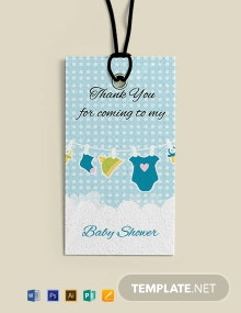 Baby shower Thank You Tag Template