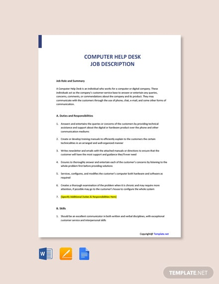 Free Computer Help Desk Job Ad/Description Template