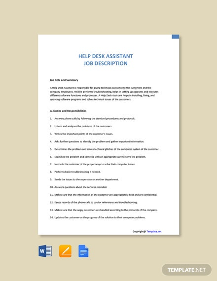Free Help Desk Assistant Job Ad/Description Template