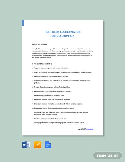 Free Help Desk Coordinator Job Ad/Description Template