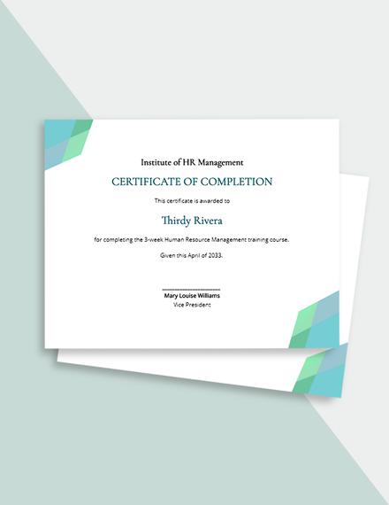 Free Creative HR Certificate Template