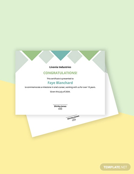 Milestones Certificate Template