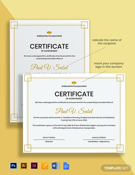Achievements Certificate Template