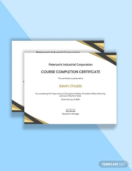 Course Completion Certificate Template