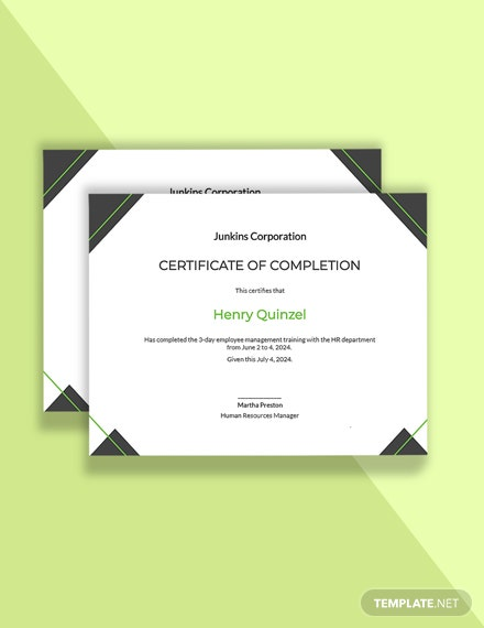Editable HR Training Completion Certificate Template