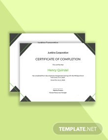 HR Training Completion Certificate Template