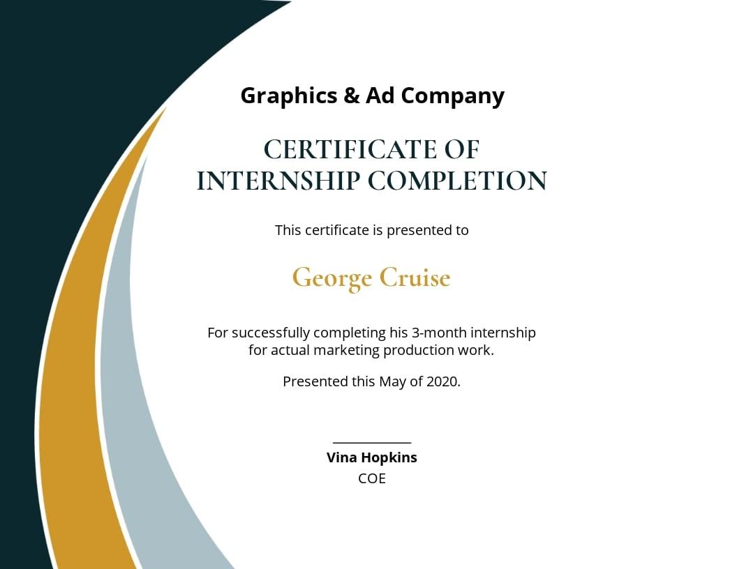 Internship Completion Certificate Template