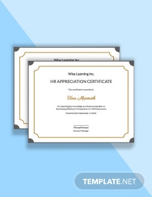 HR Appreciation Certificate Template