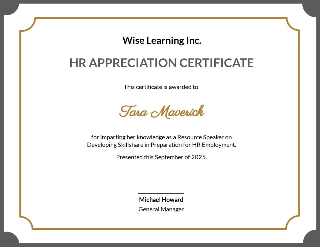 HR Appreciation Certificate Template