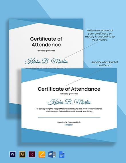 HR Attendance Certificate Template