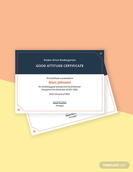 Good Attitude Certificate Template