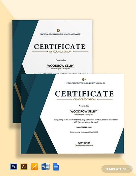 HR Quality Certificate Template