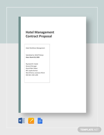 Hotel Management Contracts Proposal Template