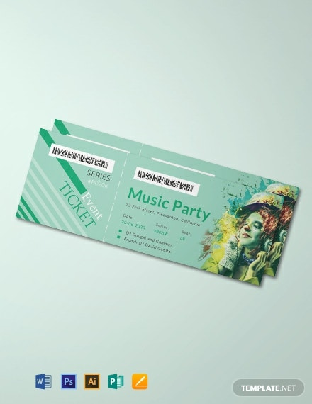 Free Modern Concert Ticket Template