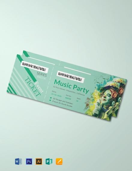 Free Modern Concert Ticket Template