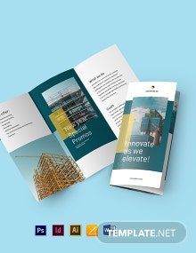Modern Residential Construction Tri-Fold Brochure Template