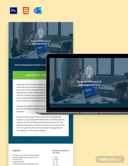 Monthly Human Resources Newsletter Template