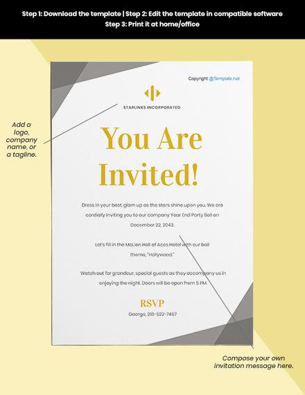 Free Elegant HR Invitation Format