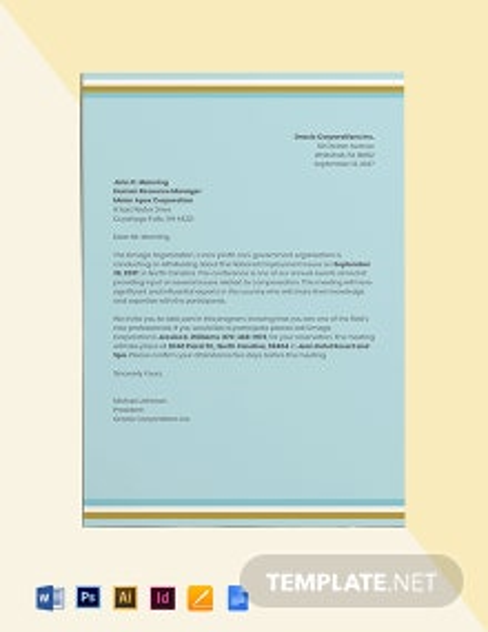 HR Meeting Invitation Template