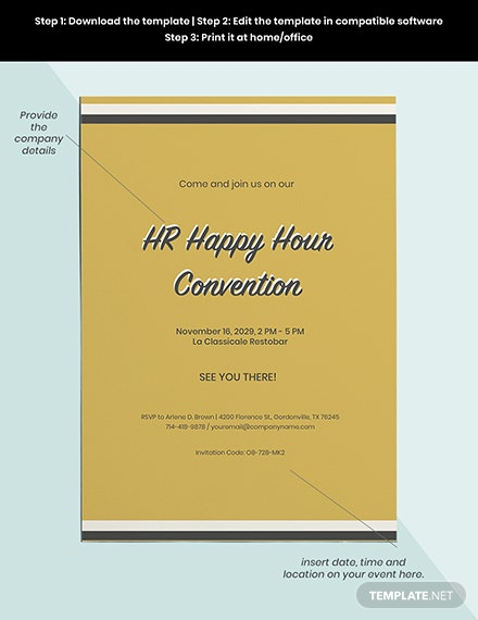 Hr Happy Hour Invitation Template Word Psd Indesign Apple