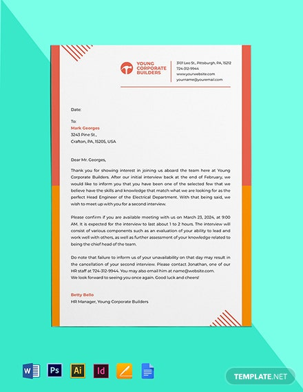 Second Interview Invitation Template