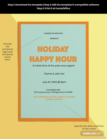 Holiday Happy Hour Invitation Template Sample