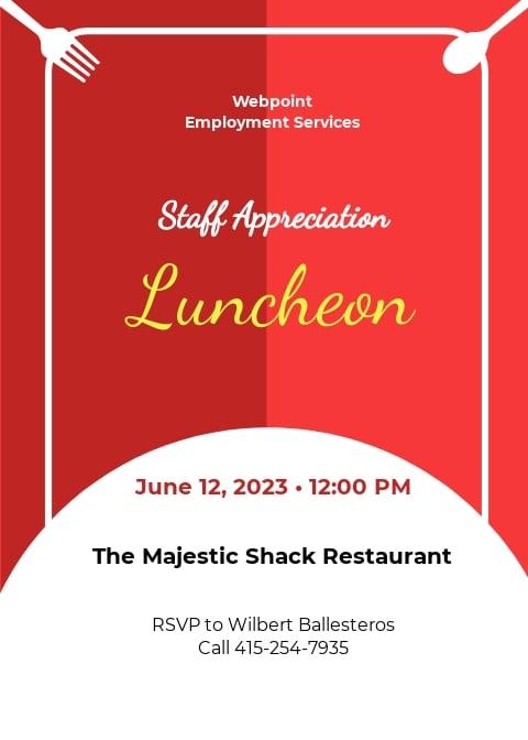 Staff Appreciation Luncheon Invitation Template