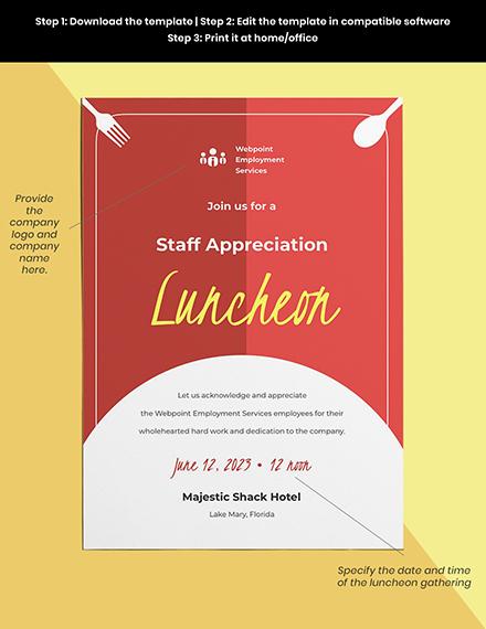 staff appreciation luncheon invitation template Format