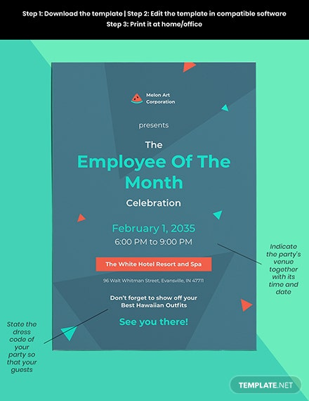 employee of the month invitation template Format