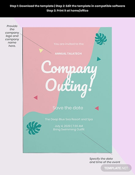 Company outing invitation Template Download