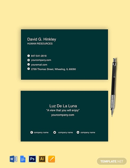 Free Sample HR Business Card Template