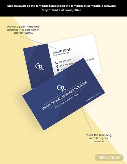 Free Modern hr business card editable