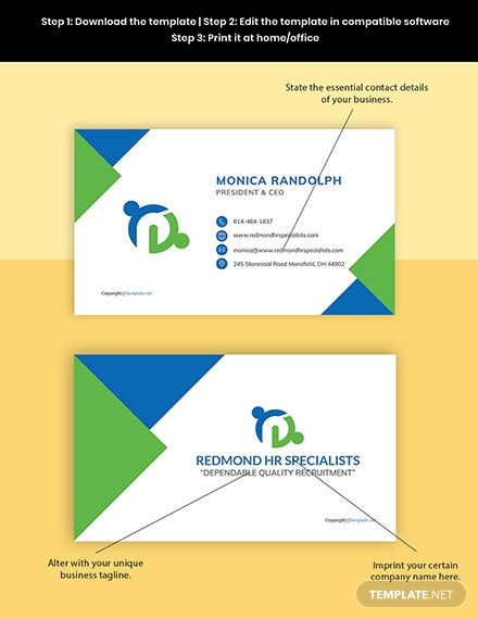 Free Creative HR Business Card Template Format