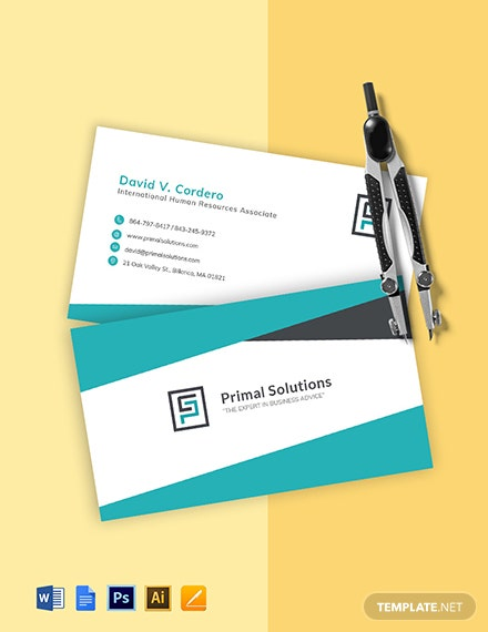 HR Manager Business Card Template