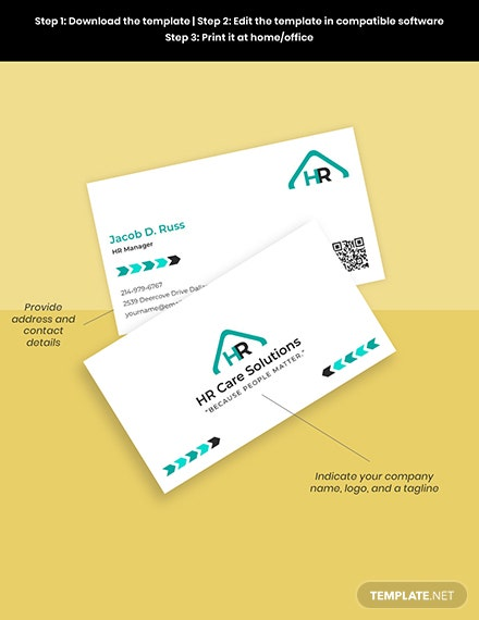 HR admin business card template Sample