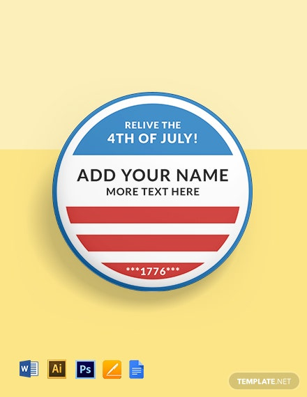 July 4th Badge (Round Shape) Template