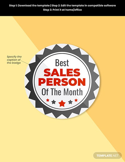 Best salesperson badge round badge Template Format