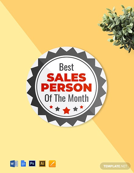 Best Sales Person Badge (Round Badge) Template