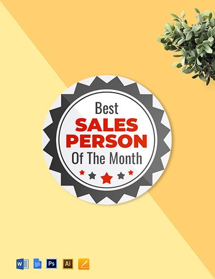 Best salesperson badge round badge Template