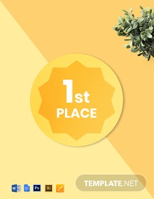 1st Place, 2nd Place, 3rd Place Badge (Round) Template