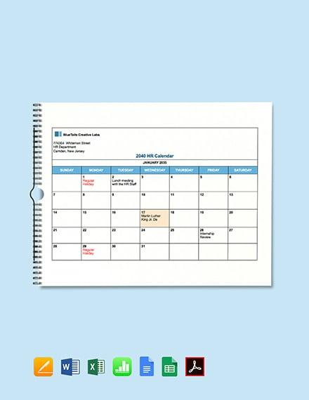 Free Blank HR Calendar Template download