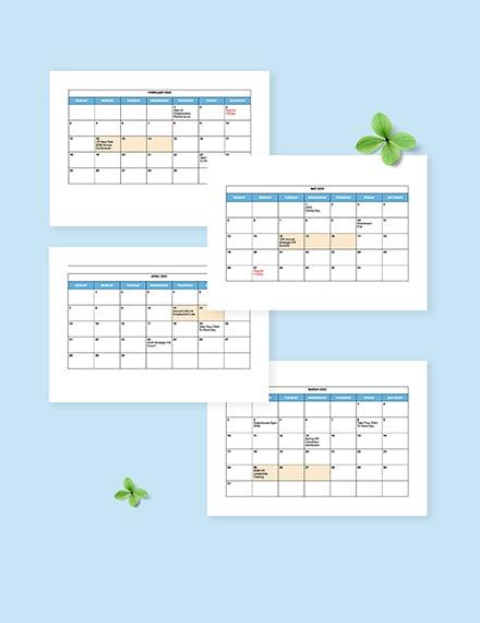 Free Blank HR Calendar Template editable